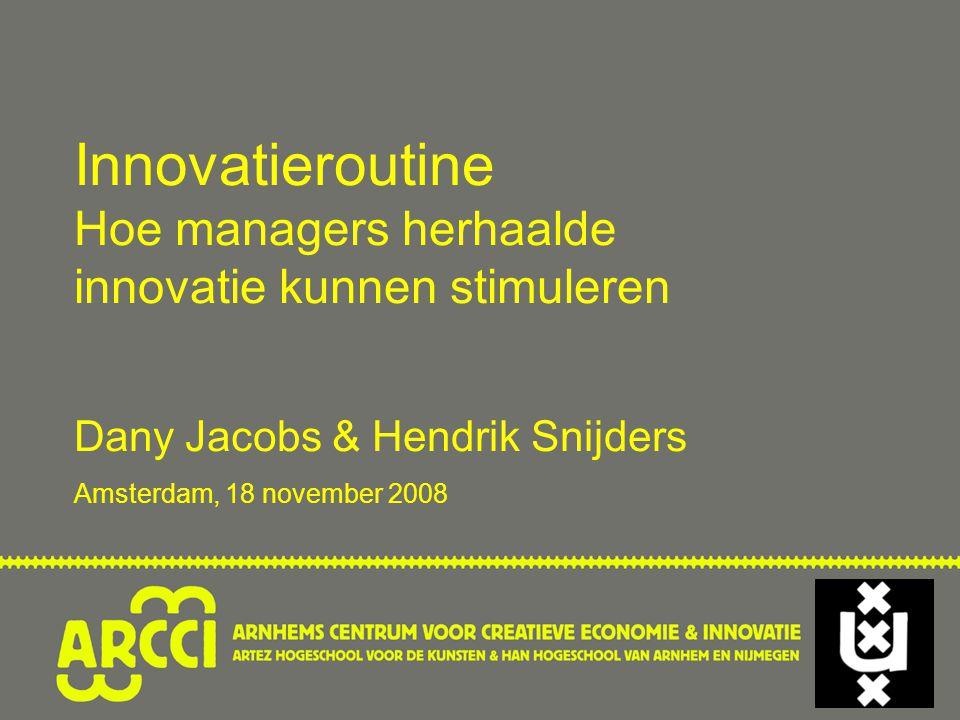 Innovatieroutine Hoe managers herhaalde innovatie kunnen stimuleren