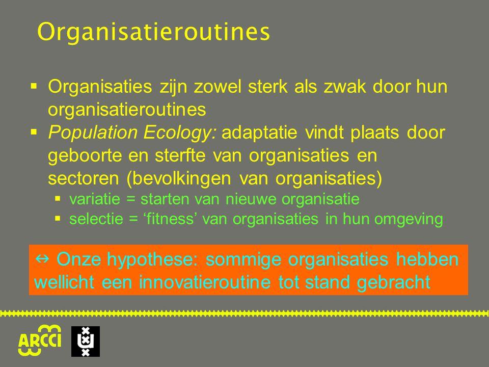 Organisatieroutines Organisaties zijn zowel sterk als zwak door hun organisatieroutines.