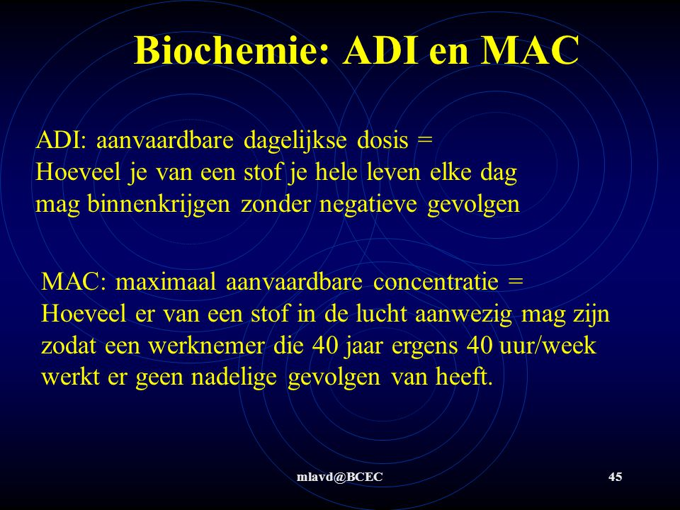 Biochemie: ADI en MAC