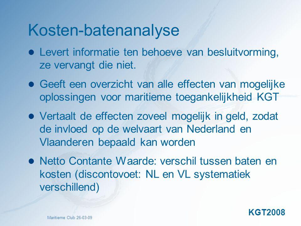 Kosten-batenanalyse Levert informatie ten behoeve van besluitvorming, ze vervangt die niet.