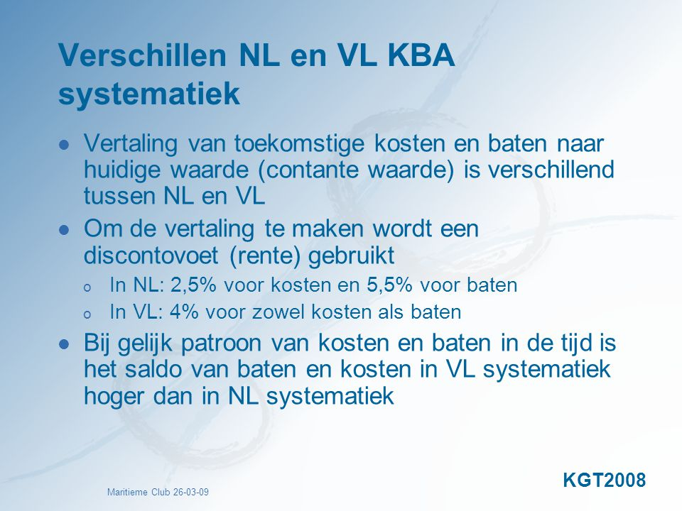 Verschillen NL en VL KBA systematiek
