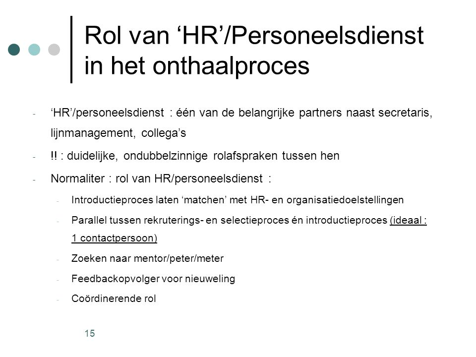 Rol van 'HR'/Personeelsdienst in het onthaalproces