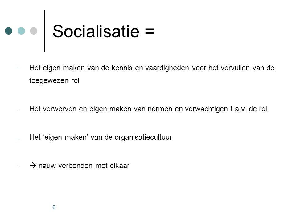 Socialisatie = Het eigen maken van de kennis en vaardigheden voor het vervullen van de toegewezen rol.