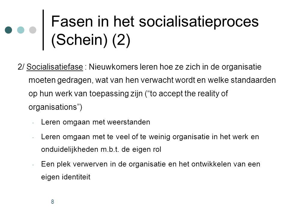 Fasen in het socialisatieproces (Schein) (2)