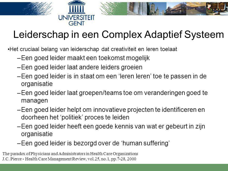 Leiderschap in een Complex Adaptief Systeem