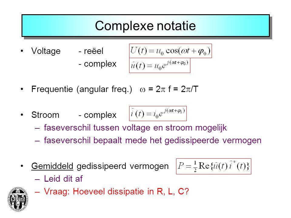 Complexe notatie Voltage - reëel - complex