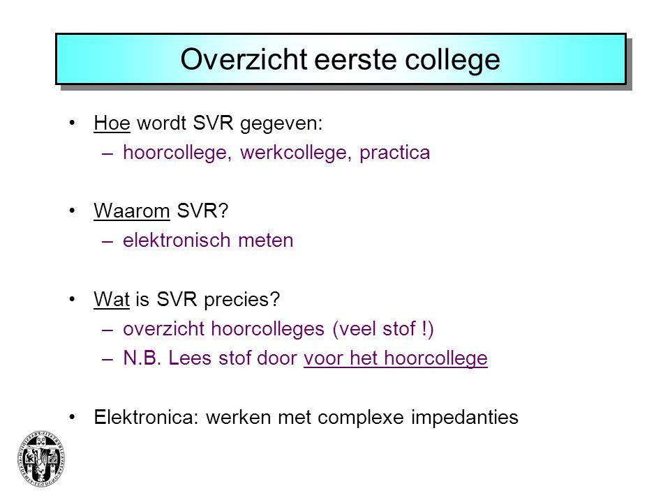 Overzicht eerste college