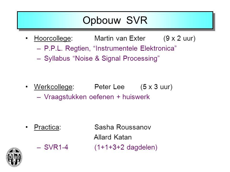 Opbouw SVR Hoorcollege: Martin van Exter (9 x 2 uur)