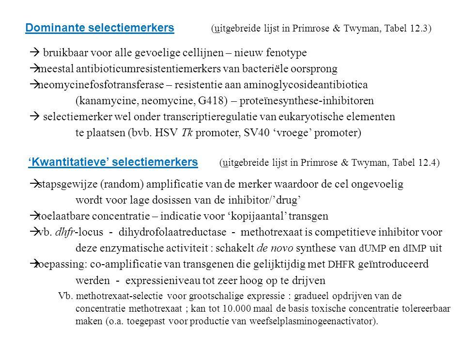 Dominante selectiemerkers (uitgebreide lijst in Primrose & Twyman, Tabel 12.3)