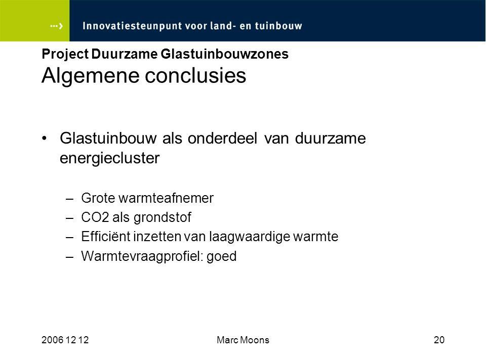 Project Duurzame Glastuinbouwzones Algemene conclusies