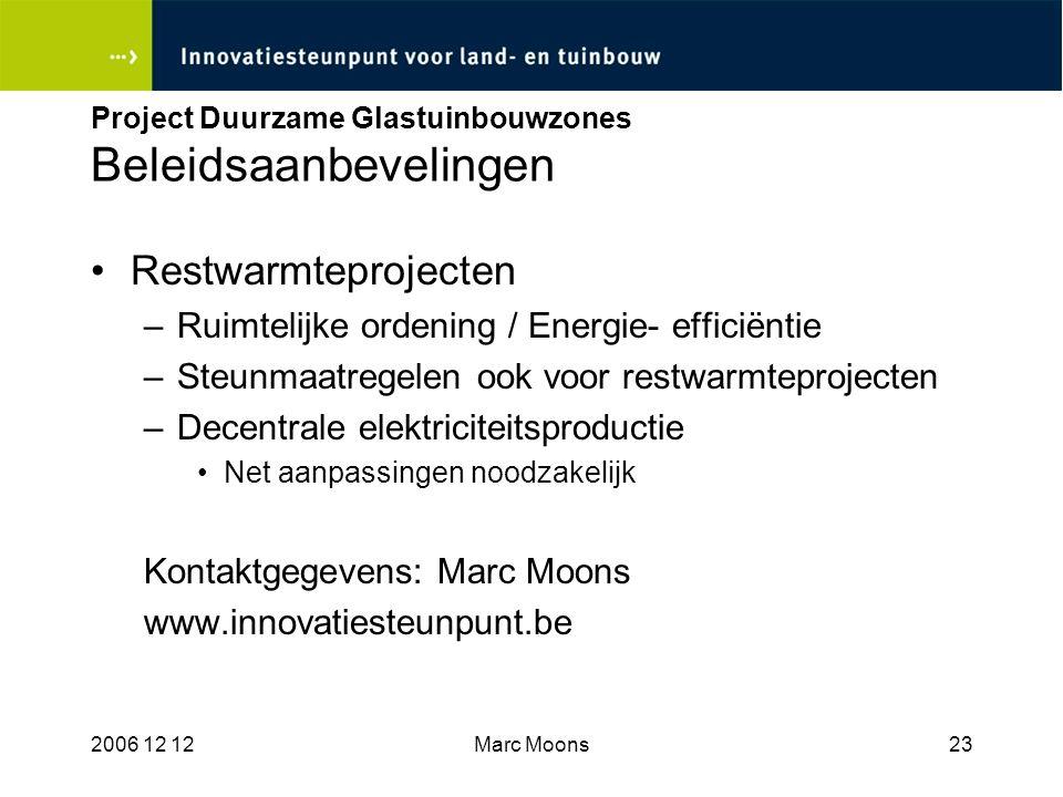 Project Duurzame Glastuinbouwzones Beleidsaanbevelingen