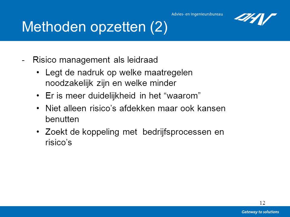 Methoden opzetten (2) Risico management als leidraad