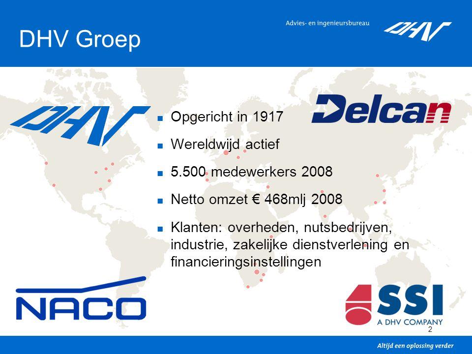 DHV Groep Opgericht in 1917 Wereldwijd actief 5.500 medewerkers 2008