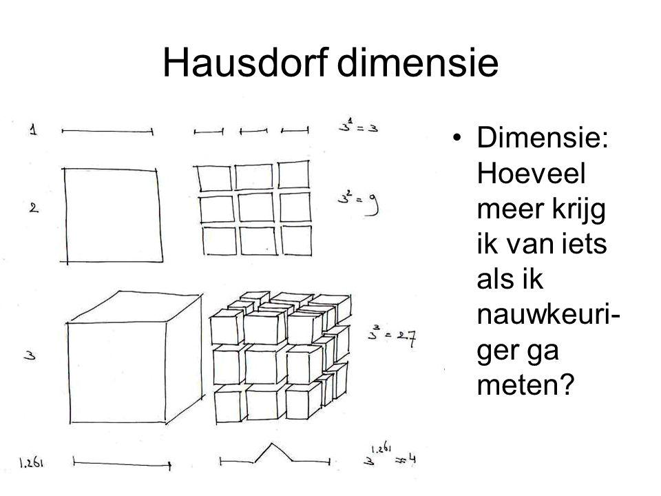 Hausdorf dimensie Dimensie:Hoeveel meer krijg ik van iets als ik nauwkeuri-ger ga meten