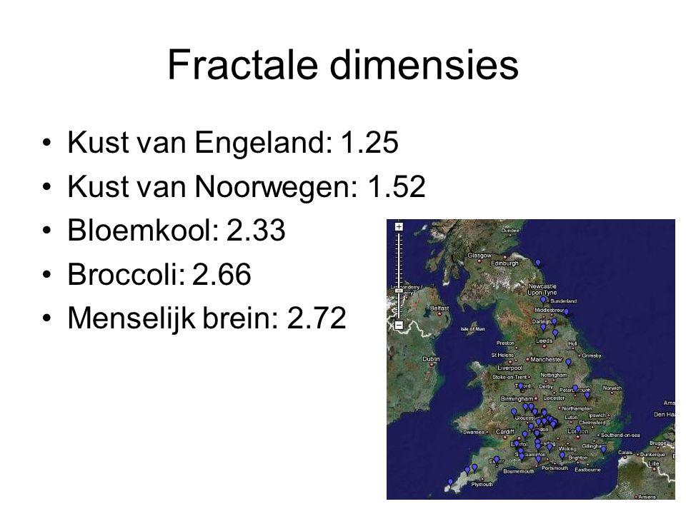 Fractale dimensies Kust van Engeland: 1.25 Kust van Noorwegen: 1.52