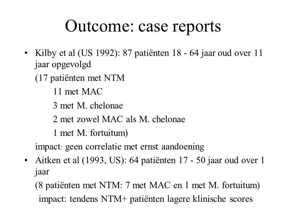 Outcome: case reports Kilby et al (US 1992): 87 patiënten 18 - 64 jaar oud over 11 jaar opgevolgd. (17 patiënten met NTM.