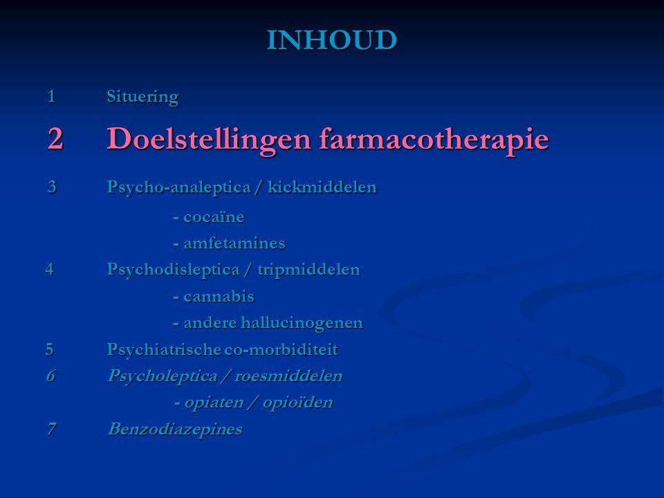 2 Doelstellingen farmacotherapie 3 Psycho-analeptica / kickmiddelen