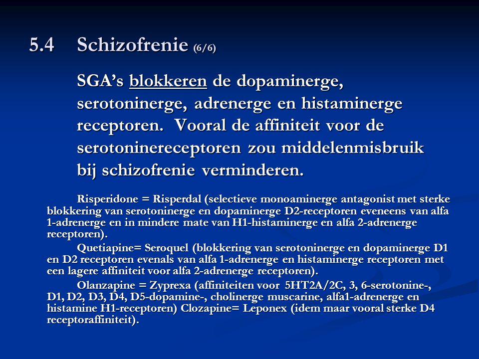 5.4 Schizofrenie (6/6) serotoninerge, adrenerge en histaminerge
