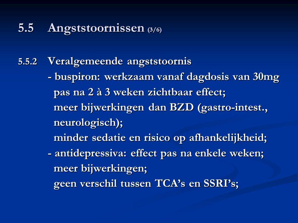 5.5 Angststoornissen (3/6) pas na 2 à 3 weken zichtbaar effect;