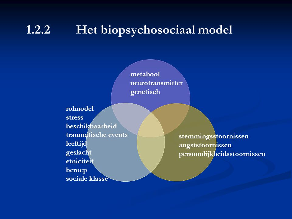 metabool neurotransmitter. genetisch. rolmodel. stress. beschikbaarheid. traumatische events. leeftijd.