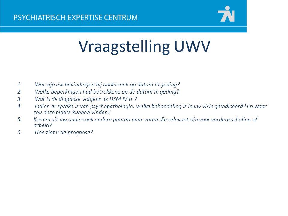 Vraagstelling UWV Wat zijn uw bevindingen bij onderzoek op datum in geding Welke beperkingen had betrokkene op de datum in geding