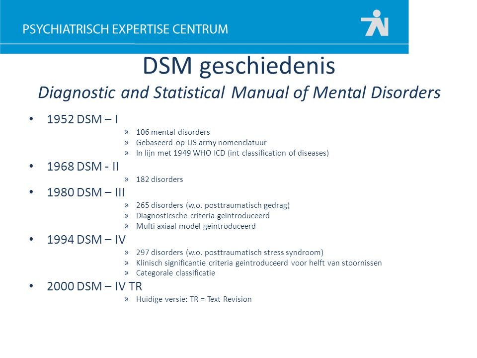 DSM geschiedenis Diagnostic and Statistical Manual of Mental Disorders