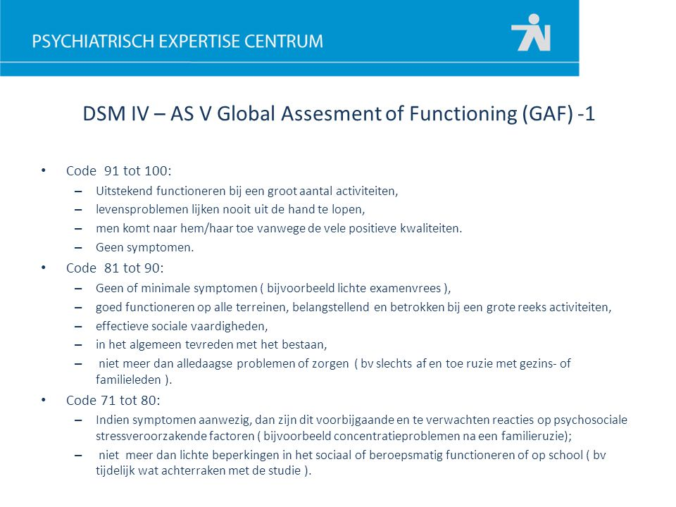 DSM IV – AS V Global Assesment of Functioning (GAF) -1