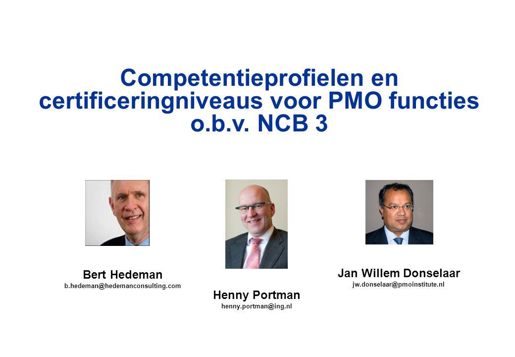 Competentieprofielen en certificeringniveaus voor PMO functies o. b. v