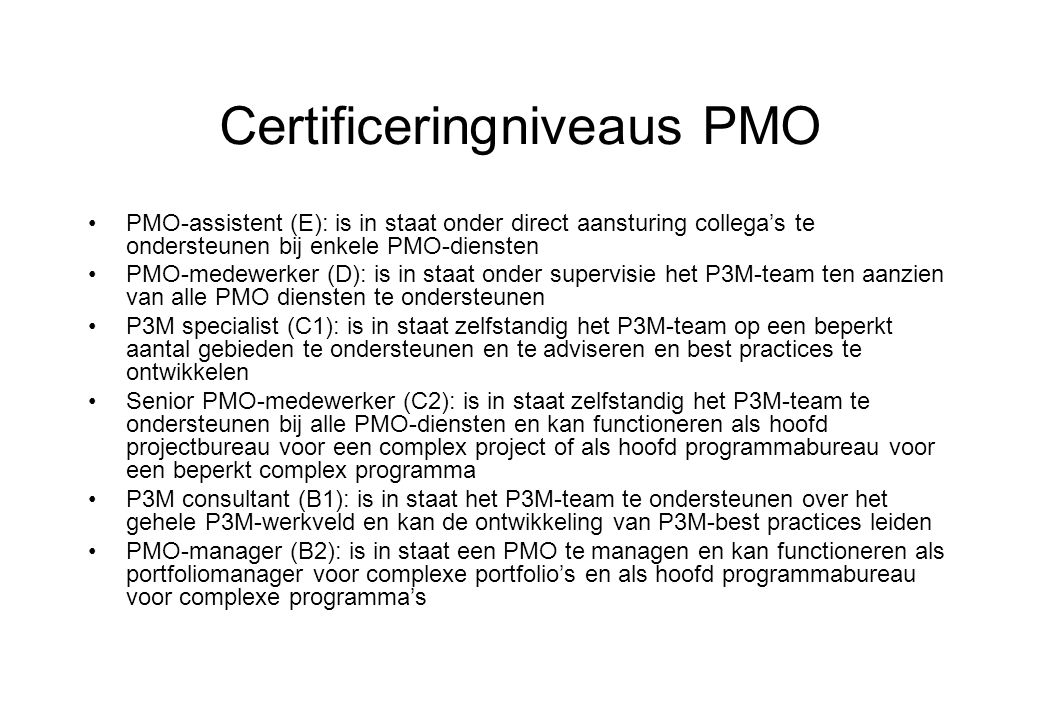 Certificeringniveaus PMO