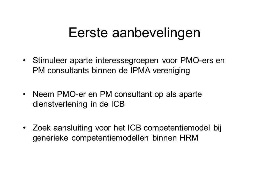 Eerste aanbevelingen Stimuleer aparte interessegroepen voor PMO-ers en PM consultants binnen de IPMA vereniging.