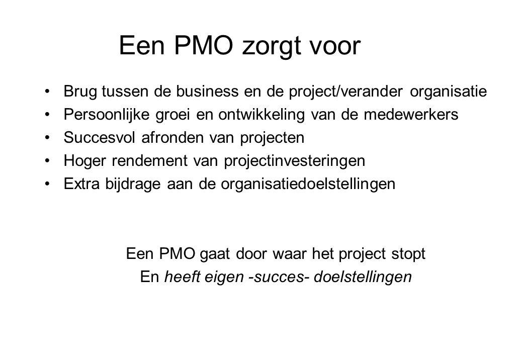 Een PMO zorgt voor Brug tussen de business en de project/verander organisatie. Persoonlijke groei en ontwikkeling van de medewerkers.