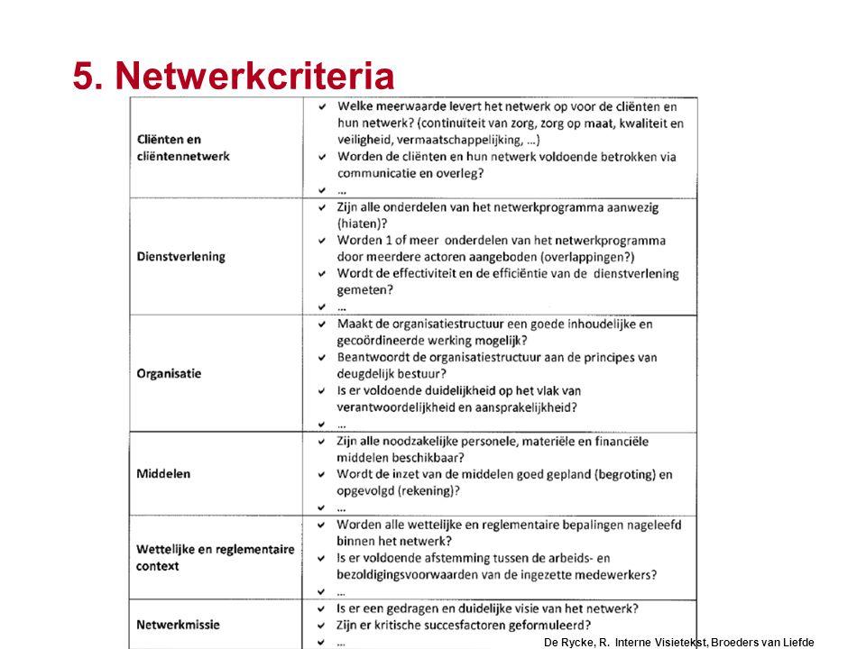 5. Netwerkcriteria De Rycke, R. Interne Visietekst, Broeders van Liefde
