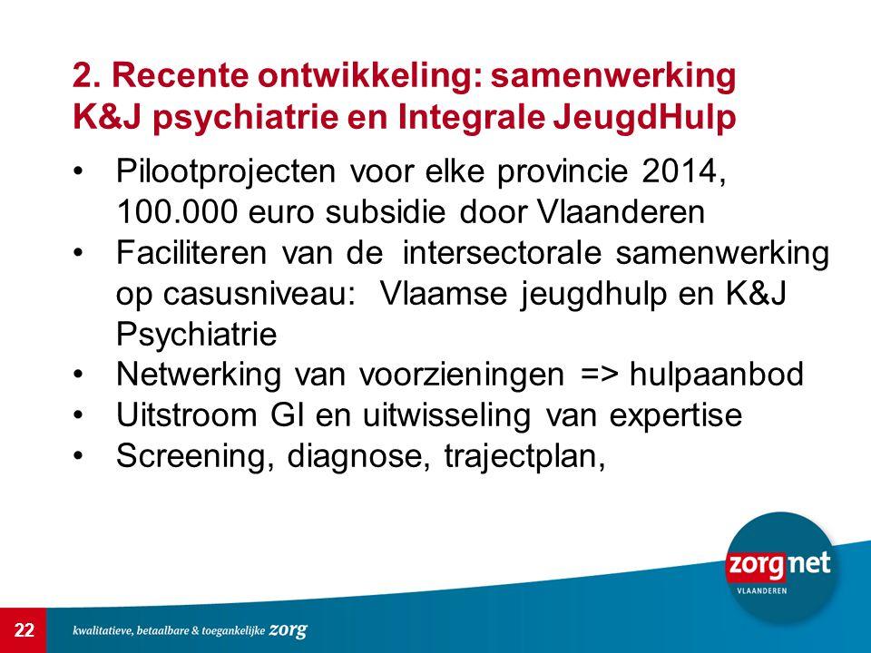 2. Recente ontwikkeling: samenwerking K&J psychiatrie en Integrale JeugdHulp