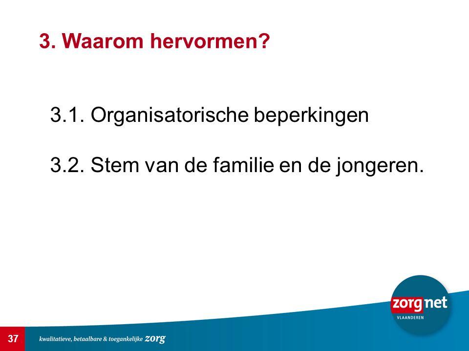 3. Waarom hervormen 3.1. Organisatorische beperkingen 3.2. Stem van de familie en de jongeren.