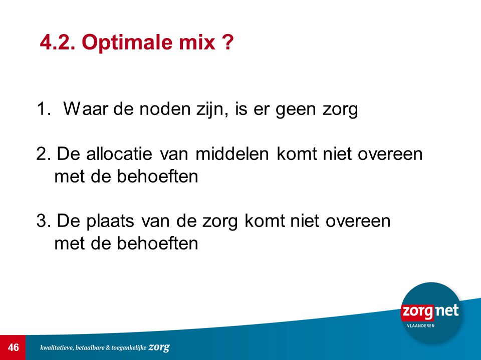 4.2. Optimale mix Waar de noden zijn, is er geen zorg