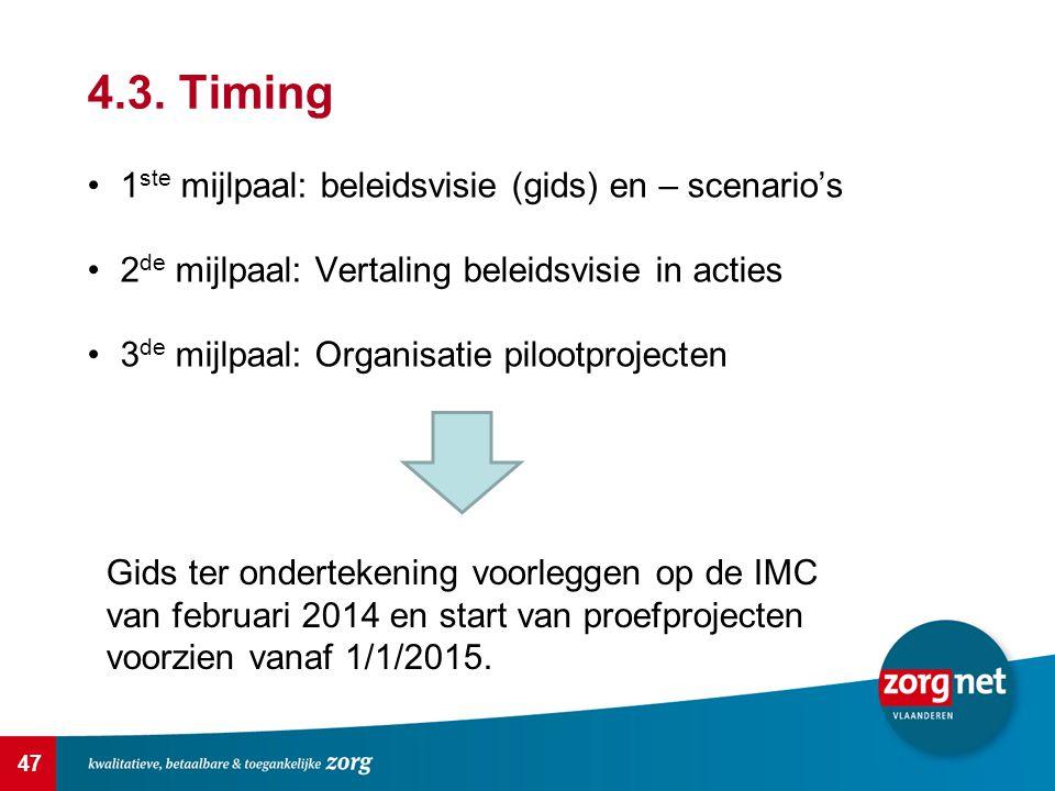 4.3. Timing 1ste mijlpaal: beleidsvisie (gids) en – scenario's