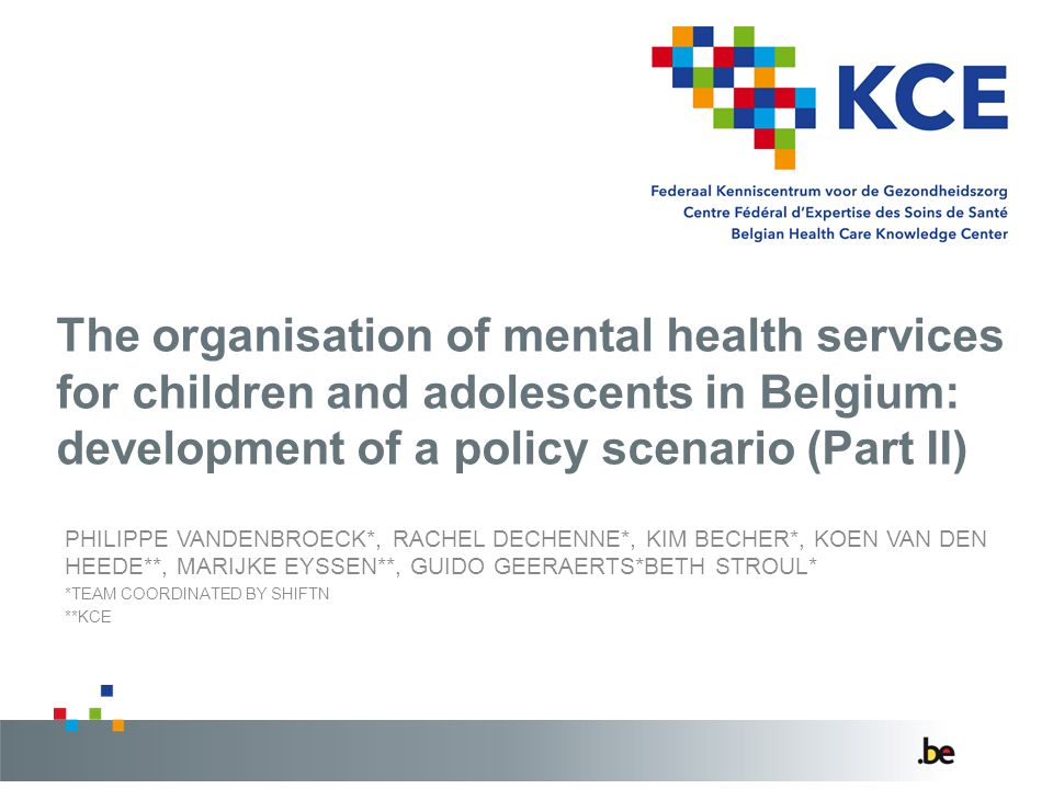 The organisation of mental health services for children and adolescents in Belgium: development of a policy scenario (Part II)