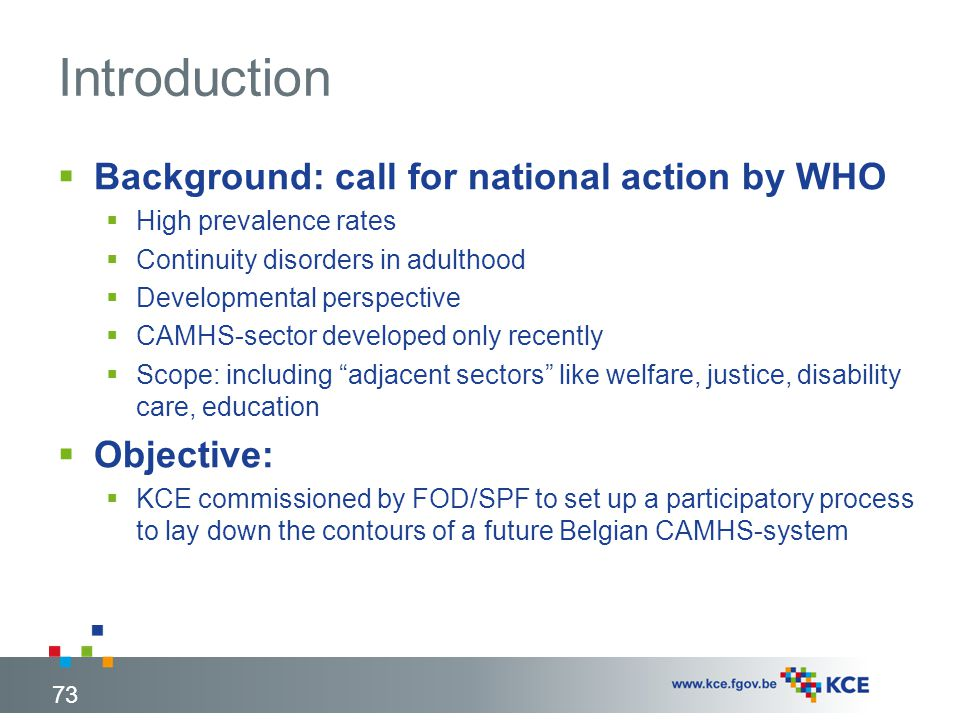 Introduction Background: call for national action by WHO Objective: