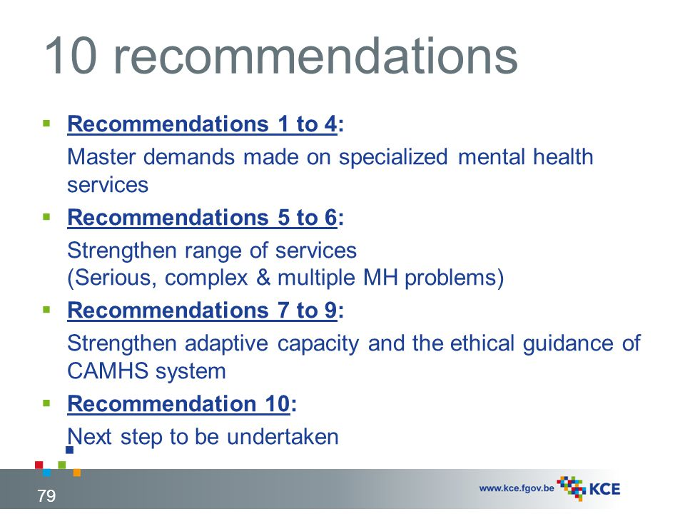 10 recommendations Recommendations 1 to 4: