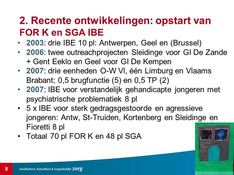 2. Recente ontwikkelingen: opstart van FOR K en SGA IBE