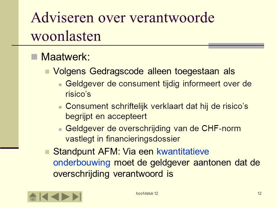 Adviseren over verantwoorde woonlasten