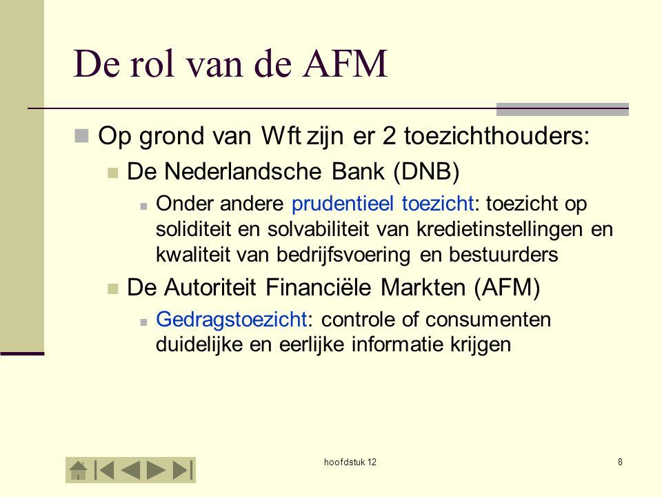 De rol van de AFM Op grond van Wft zijn er 2 toezichthouders: