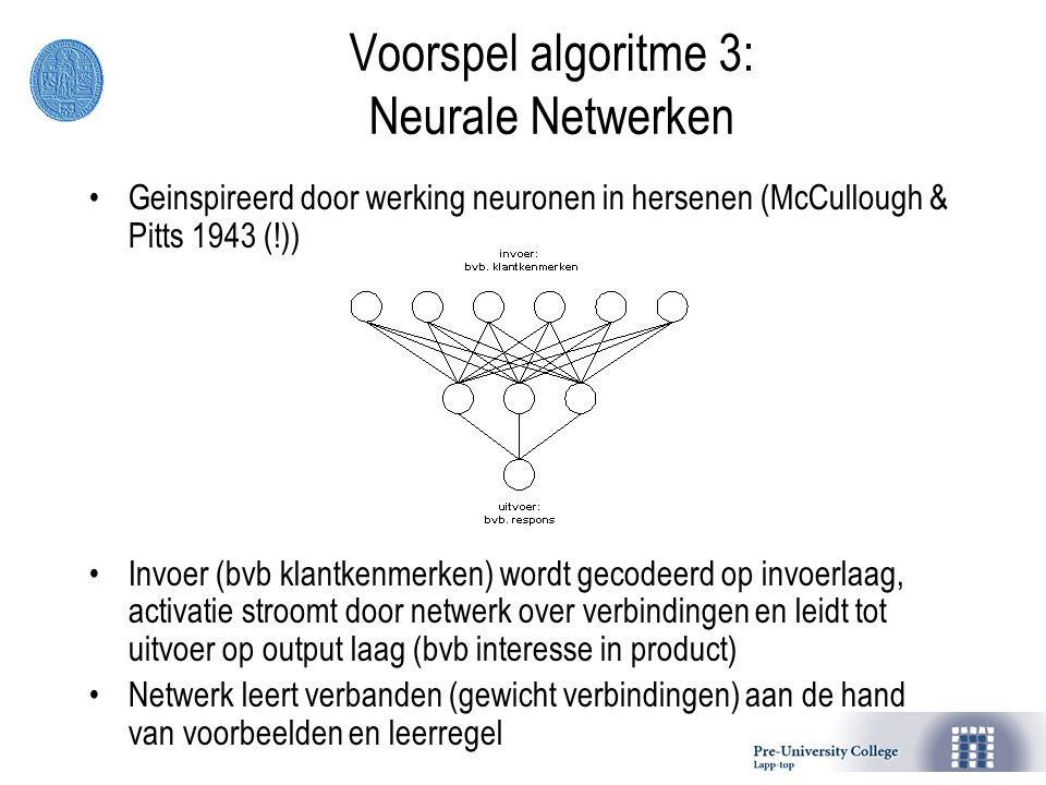 Voorspel algoritme 3: Neurale Netwerken