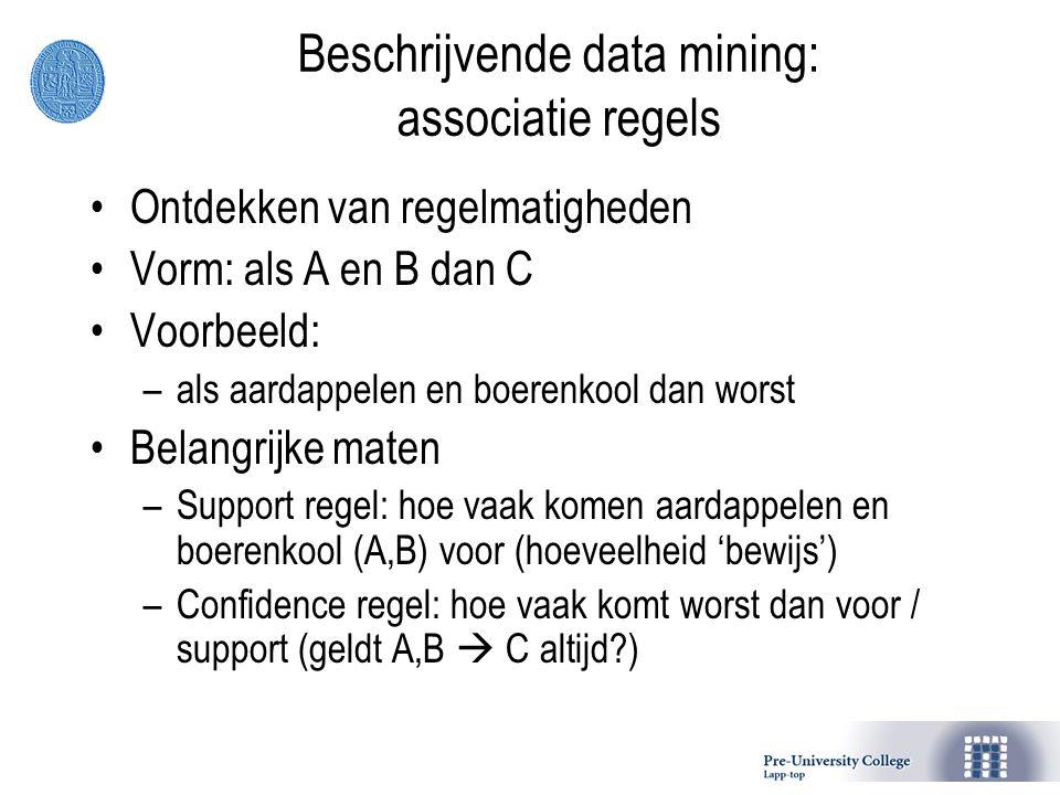 Beschrijvende data mining: associatie regels
