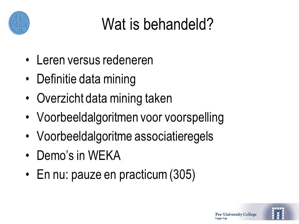 Wat is behandeld Leren versus redeneren Definitie data mining