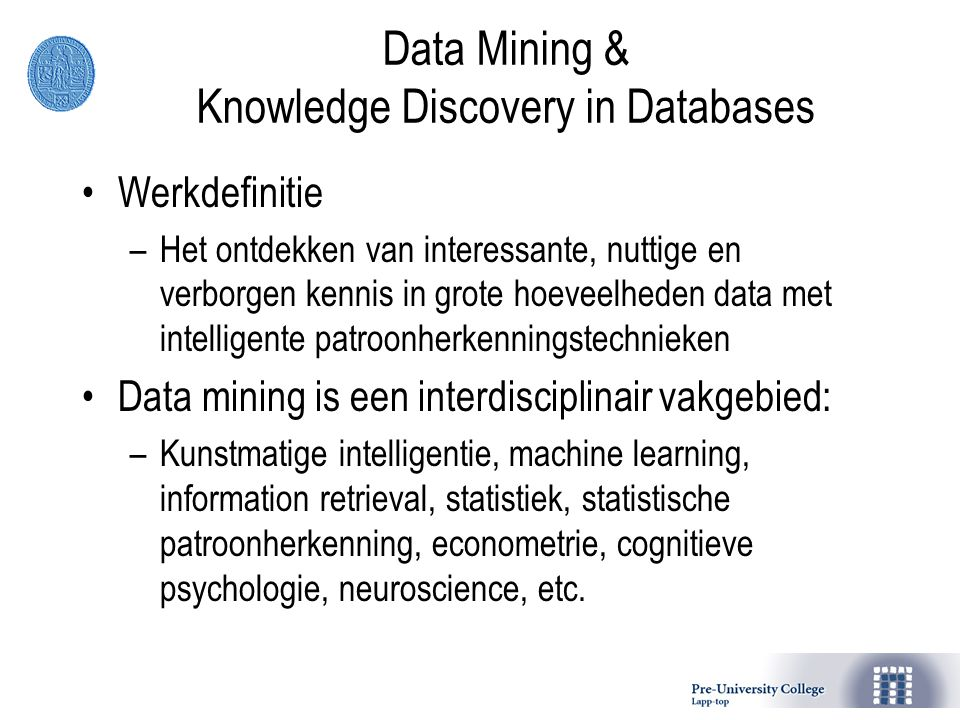 Data Mining & Knowledge Discovery in Databases