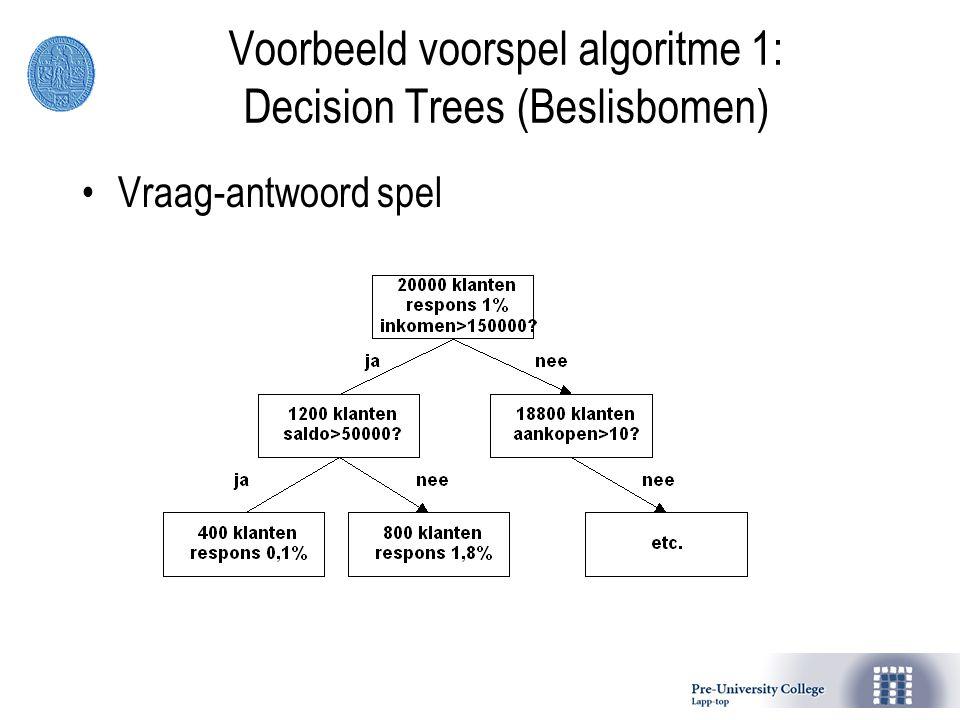 Voorbeeld voorspel algoritme 1: Decision Trees (Beslisbomen)