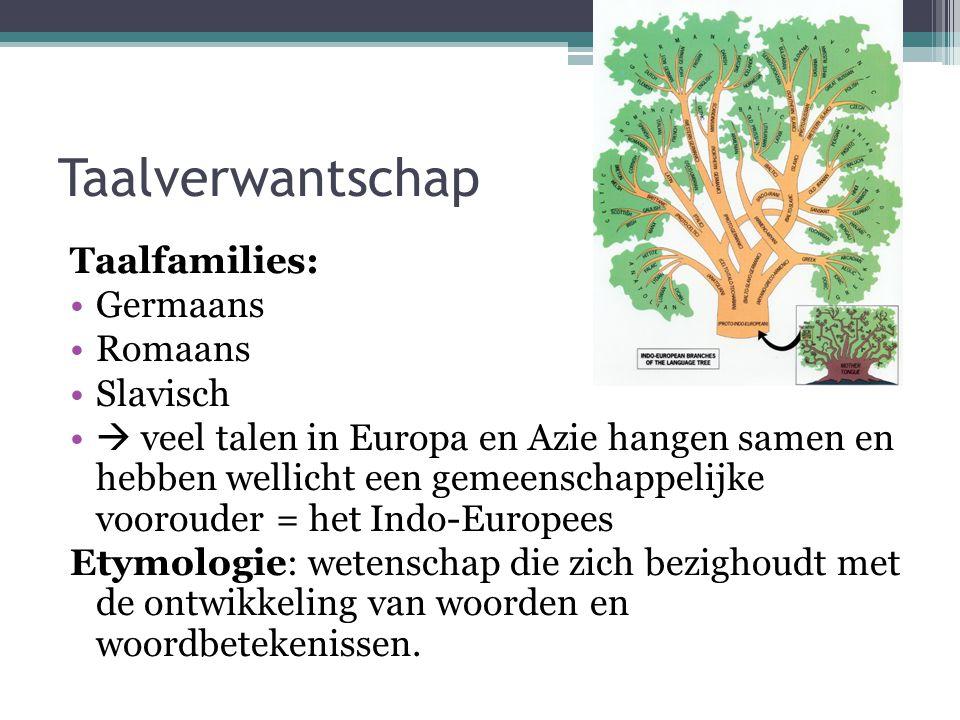 Taalverwantschap Taalfamilies: Germaans Romaans Slavisch