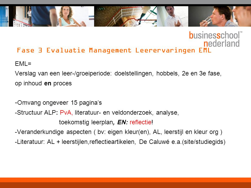 Fase 3 Evaluatie Management Leerervaringen EML
