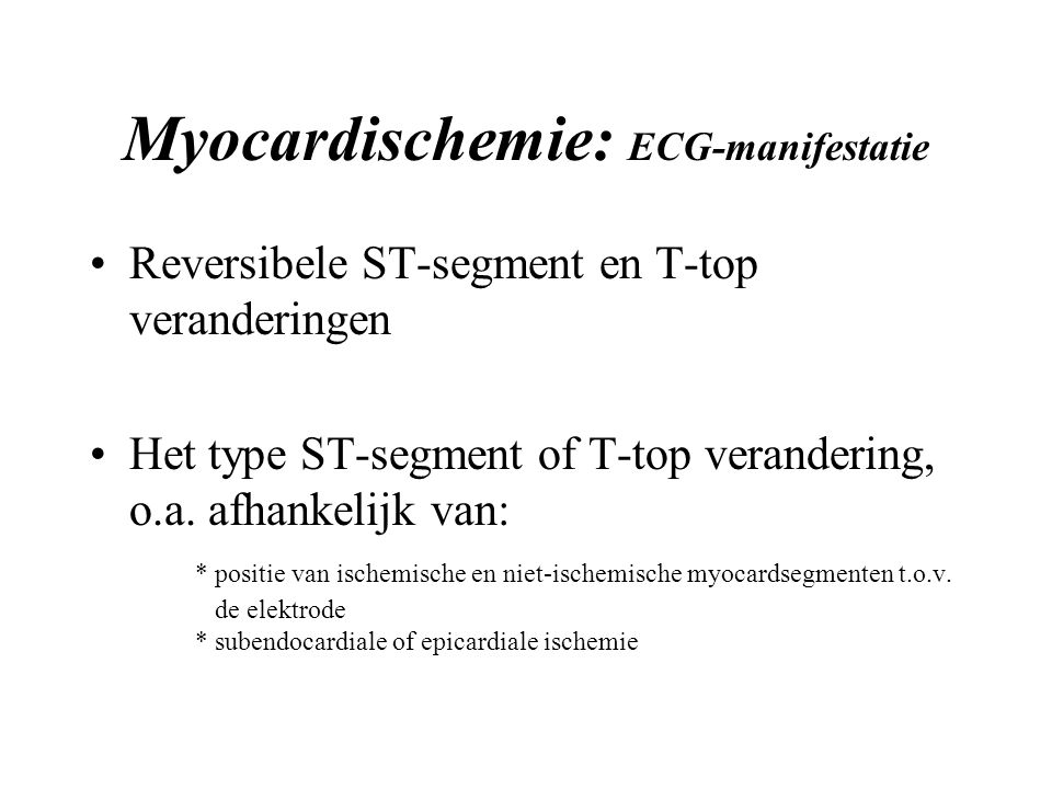 Myocardischemie: ECG-manifestatie